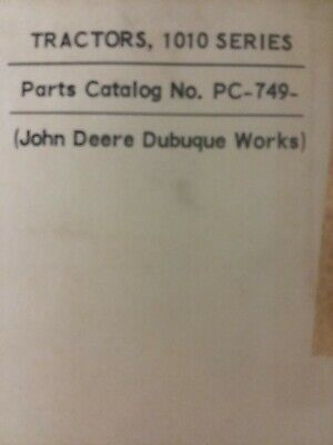 John Deere 1010 Utility Row-crop Orchard Tractor Master Parts Manual Pc-749