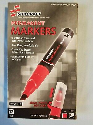 Skilcraft Red Permanent Chisel Tip Markers Nib 12 Pack
