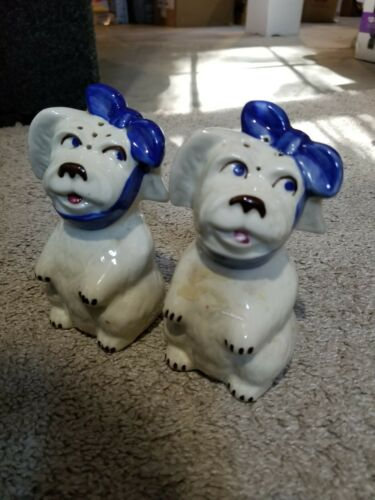 Vintage Porcelain Dog with Blue Bow Salt & Pepper Shakers - 5 Inches