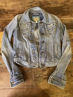Abercrombie & Fitch Vintage Blue Denim Jean Jacket Distressed Women's Small