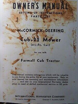 Farmall Ih International Harvester Cub Tractor Cub-22 Mower Owner Parts Manual