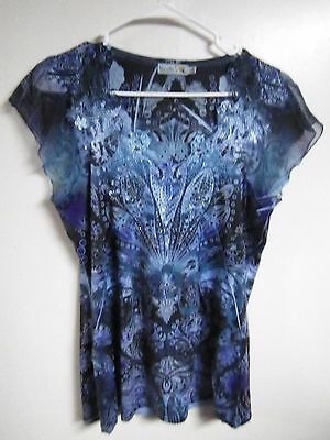 UNITY WOMENS SIZE SMALL  PULL OVER Blouse TOP BLUE SHEER CAP STYLE SLEEVES BLING