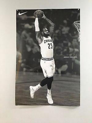 Lebron James Dunk Cleveland Cavs Always Believe Nike Poster Rare Brand New Huge