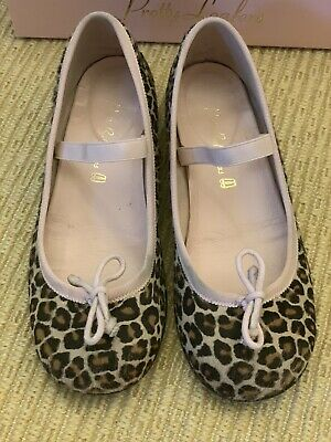 Mint! $149 EUC Pretty Ballerinas Girl's Leopard Pumps Calf Hair Size 31