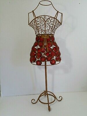 Vintage Decorative Mini Metal Wire Frame Dress Form Jeweled Spirals Red
