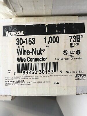 Nut 73b Wire Connector - Ideal 30-153 Wire Nut Wire Connector 73B Black (1000 Box)