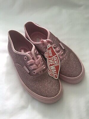 BNWTs Vans Girls Pink Glitter Junior Trainers Pumps Size 1 Euro 32