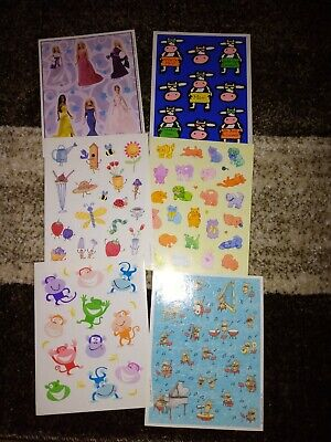 VINTAGE STICKER SHEETS SET OF 6 VARIETY COW BARBIE DOG CATS MONKEY