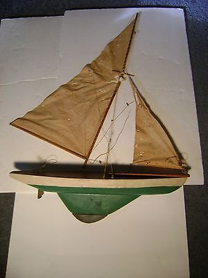 """Antique 22""""  Wooden Weighted Pond Sailboat Yacht"""