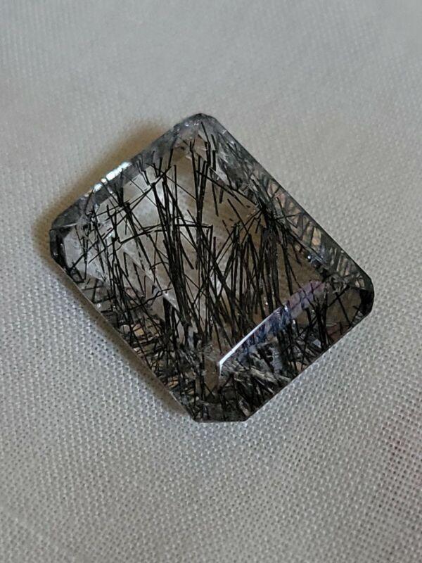 Rutile Quartz  Black  Needle 25.99 Ct 100% Natural Emerald Untreated Gemstone