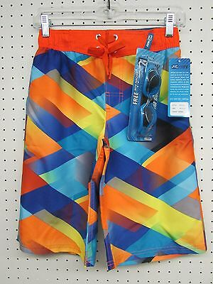 R-way Boy's Board Shorts Swim Trunks - Orange Zinnia Color - Size: MEDIUM 10-12