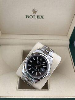 Rolex datejust ii 41mm stainless Black stick dial fluted bezel