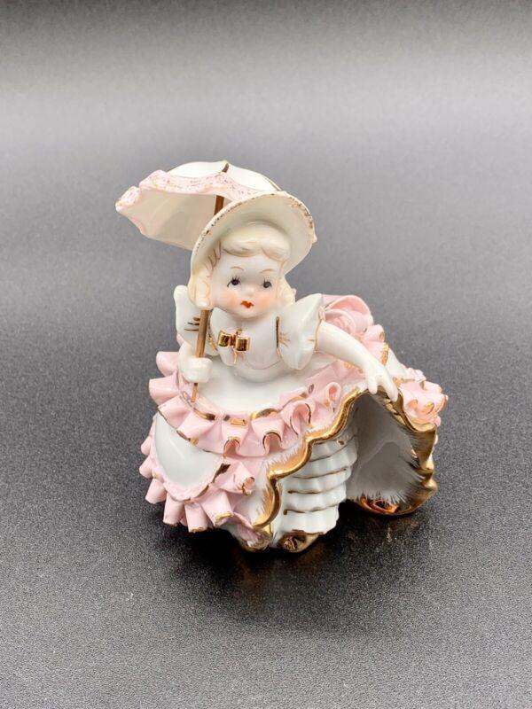 Vintage Lefton Pink Bloomer Girl With Umbrella KW1412 Signed Geo Z Lefton