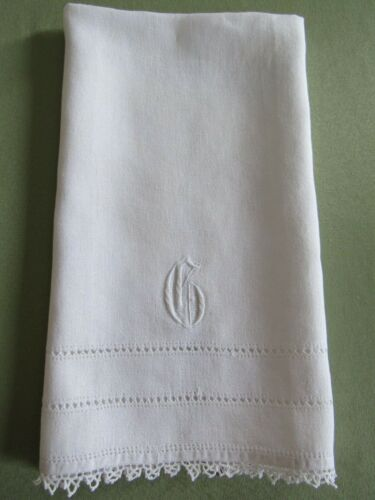 "Antique MONOGRAMMED "" G "" Guest Show Towel TATTED Edging Embroidered Linen"