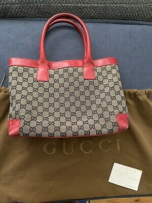 Vintage Gucci Handbag Purse Canvas Leather With Dust Bag
