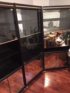 Beautiful glass /black cabinets $120 for all three! NEED GONE