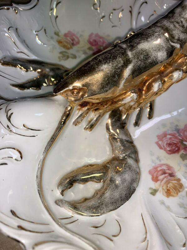 VICTORIAN Antique Early 20th Lobster Handle Porcelain Dish Bowl Germany