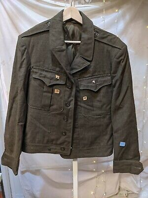 Vintage WW2 US ARMY Wool Officers IKE Uniform Field Jacket dated 1945 nos as is