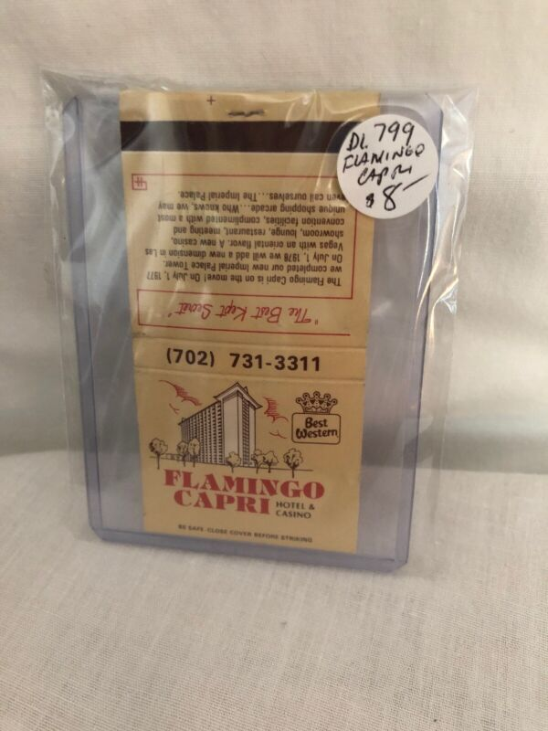 Vintage Las Vegas Matchbook Flamingo Capti Hotel & Casino Unstruck