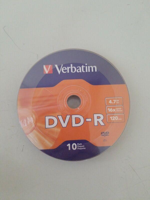 Verbatim 10 Pack 4.7GB DVD-R 16x 120 Minutes Recordable