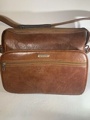 Vintage Samsonite Luggage Carry On Travel Tote Bag Brown Leather(?) Carryall
