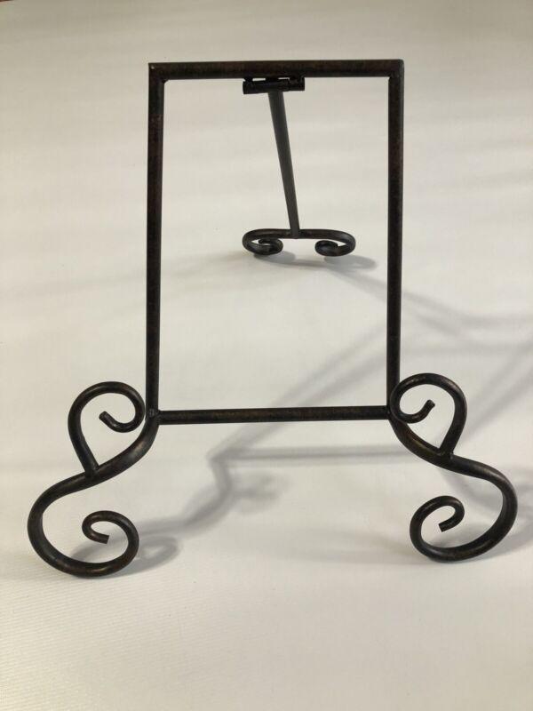 "Wrought Iron Cookbook Holder Book Stand Dark Mottled Brown 12.5""Tall"