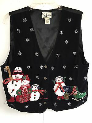 TanTrums Large Womens Black Ugly Christmas Vest Snowman SnowFlakes for sale  Thompson