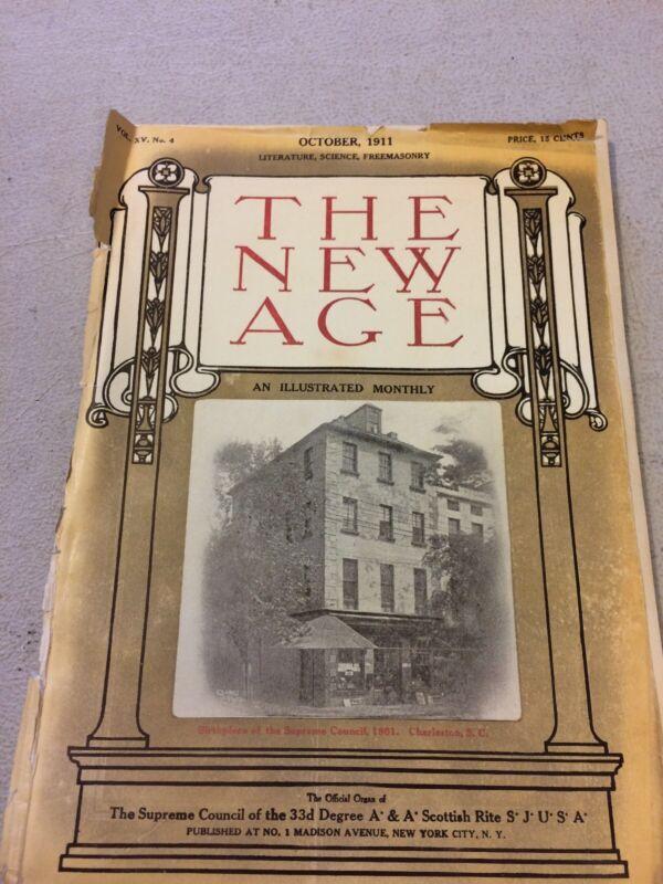 ANTIQUE FREEMASONS MAGAZINE THE NEW AGE  CHARLESTON, S.C.. 1911