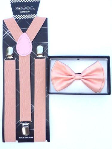 New Blush Wedding Pink Peach Bow Tie & Matching Suspender Tuxedo Wedding