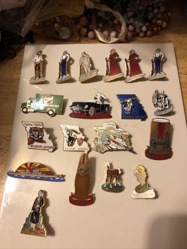 Lot of 19 Jaycee Misouri Jaycee's Vintage Pins