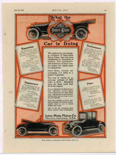 """1916 Inter-State Motor Co. Ad: """"What the Car is Doing"""" - Muncie, Indiana"""