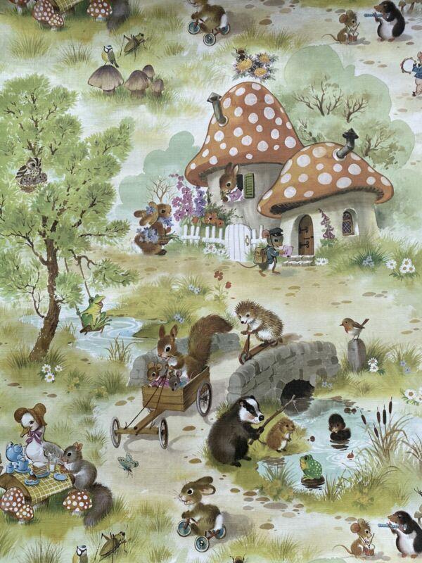 "Vintage Nursery Wallpaper 1950's? Child's Room Forest Animals CUTE! 33'x 20.5"""