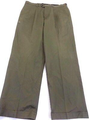 NWD JOHN W NORDSTROM MENS OLIVE GREEN COTTON STRAIGHT LEG DRESS PANTS SIZE 35X30