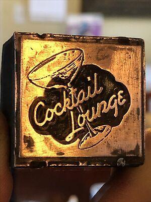 Vintage Wood Metal Metal Printing Print Block Stamps Cocktail Lounge