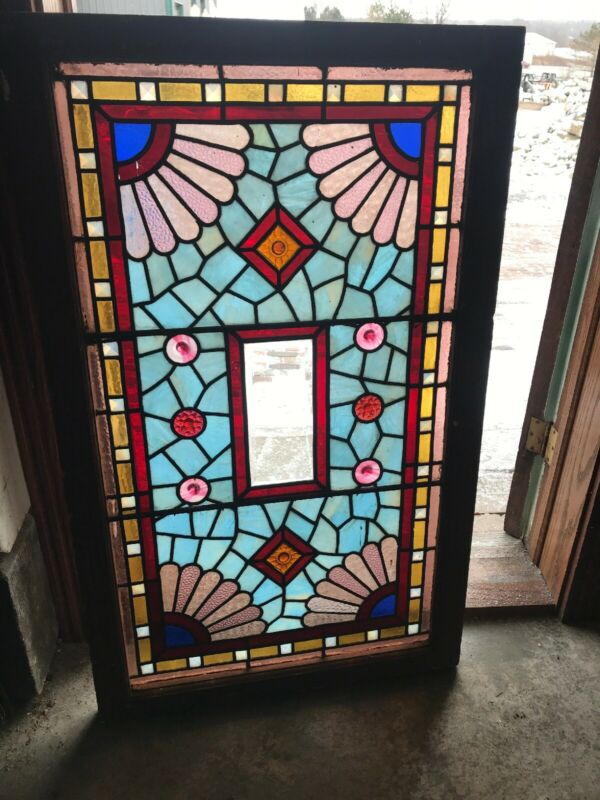 Sg 3125 Antique Stained Glass Jeweled Transom Window 27.5 X45.25