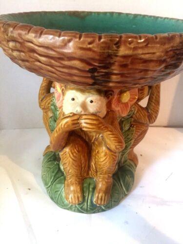 Vintage 3 Monkeys Majolica Pedestal Bowl Hear See Speak No Evil