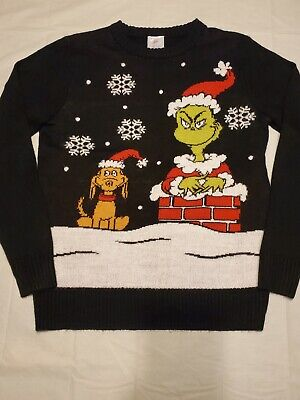 The Grinch Dr. Suess Sweater Small Black Ugly Christmas Sweater 26x20