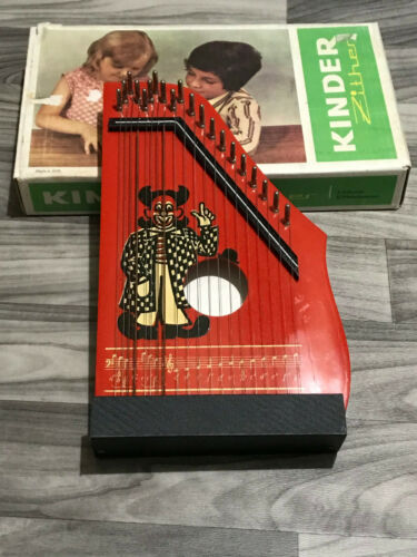 Vintage Kinder Zither Made in Germany Original Box, with ring and music sheets