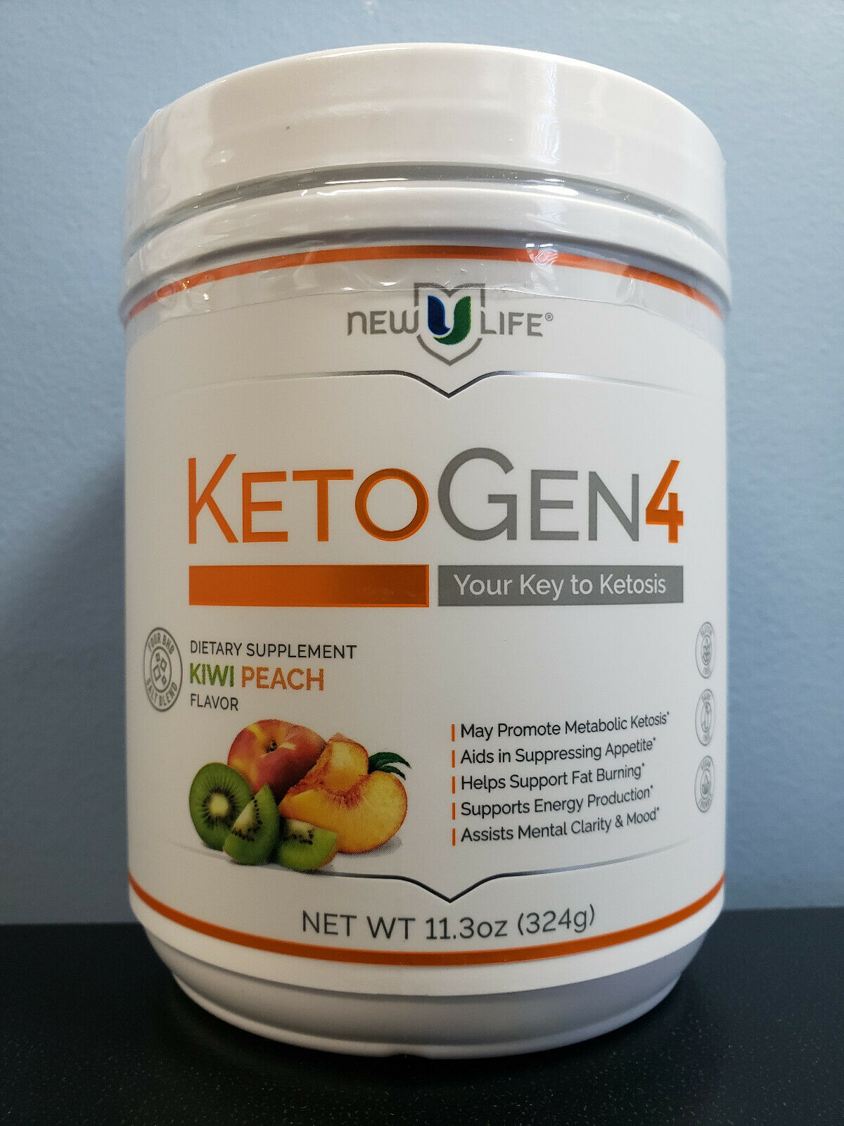 New U Life KetoGen4 Kiwi Peach 11.3 oz - New / Sealed! Exp 7/2021! NewULife