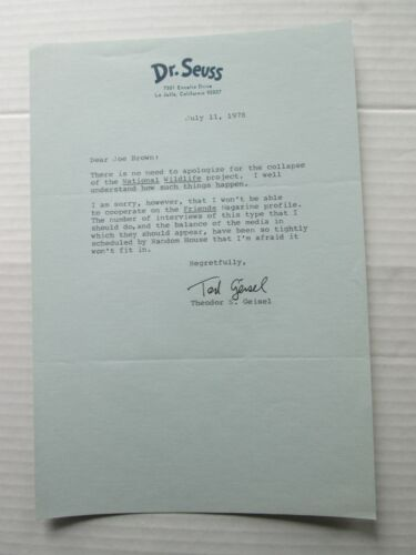 """TED GEISEL, DR. SEUSS, SIGNATURE AND LETTER, """"NATIONAL WILDLIFE"""", JULY 11, 1978"""