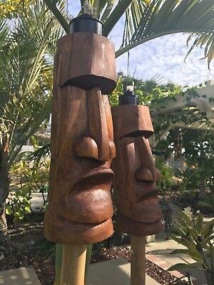 Easter Island Moai  Tiki Tiki Torch Set Of 2 Smokin Hawaii bar FXD - Tiki Bar Set