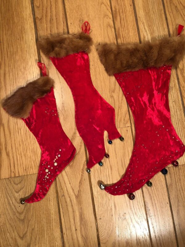 Set of 3 Vintage Holiday Christmas Stockings - Red Velvet w/ Fur Cuff