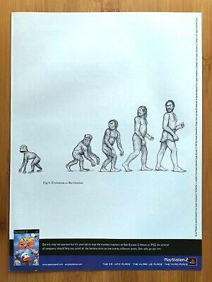 Ape Escape 2 PS2 2003 Vintage Print Ad/Poster Official UK Art Monkey Evolution