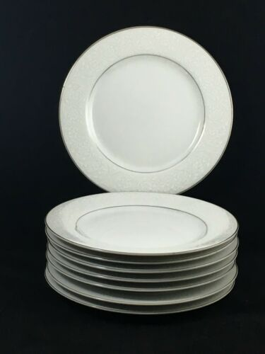 "8 Carlton Japan Plymouth 303 White Floral 6 3/8"" Bread Butter Plates Silver Trim"