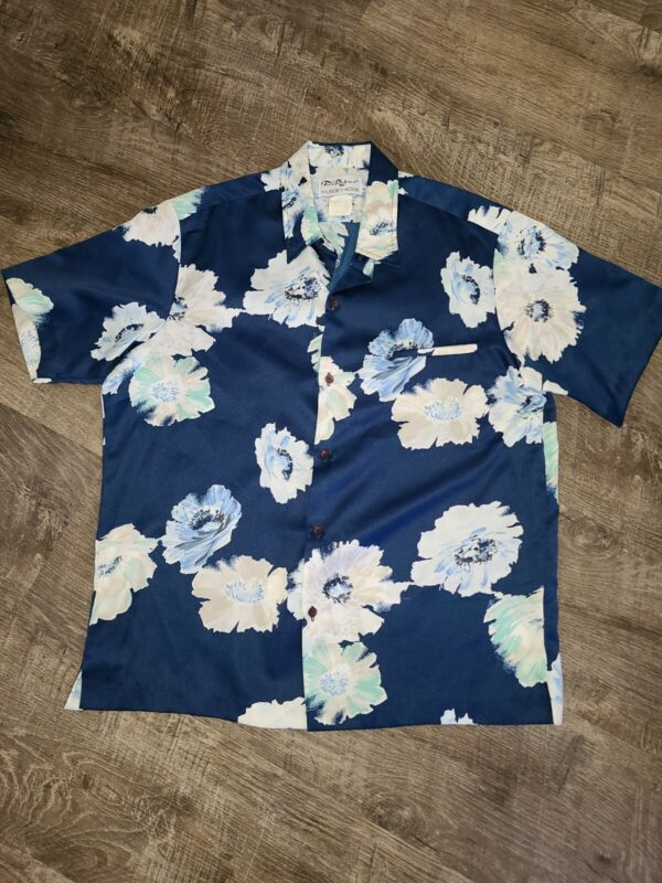 Vintaged Tori Richard Liberty House Hawaiian aloha Shirt Polyester silk satin L