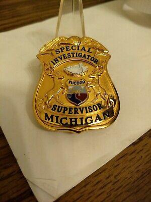 Obsolete Michigan Special Investigator Supervisor Badge Smith and Warren GOL-RAY