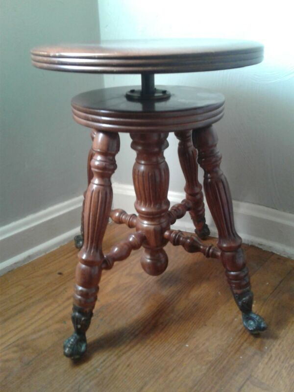 Adjustable Piano Stool with cast iron and glass ball claw feet