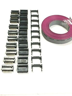 Flat Cable 12 Pins 12 Wires Idc Ribbon 12 Ft. X 15mm Wide 10 Set Idc Connector
