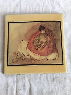 Vintage R.C.GORMAN (1931- 2005) TILE ART-Navajo Woman With Pears-From 1977 Print