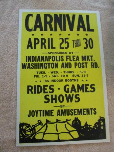 VINTAGE Joytime Amusements Indianapolis Carnival Poster *